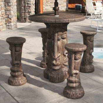 Four Seater Cast Stone Tiki Table Set H107cm x D107cm
