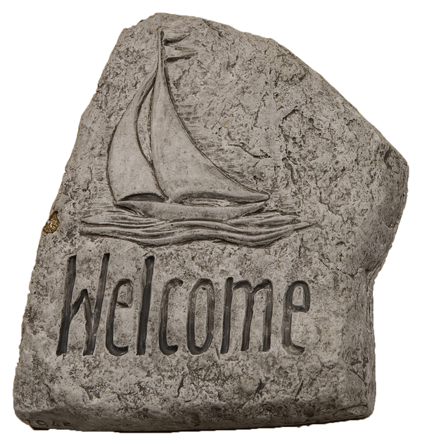 Welcome with Boat Cast Stone Garden Greeting Ornament H15cm x W20cm