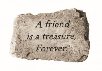 A Friend is A Treasure Forever Cast Stone Garden Greeting Ornament H18cm x W25.5cm