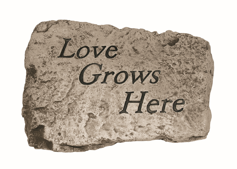 Love Grows Here Cast Stone Garden Greeting Ornament H18cm x W25.5cm