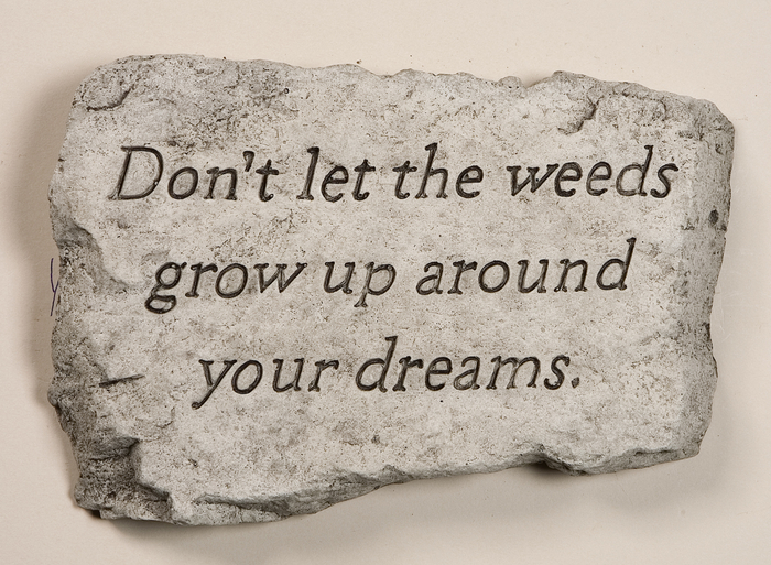 Don't Let The Weeds Grow Up Around Your Dreams Cast Stone Garden Greeting Ornament H18cm x W25.5cm