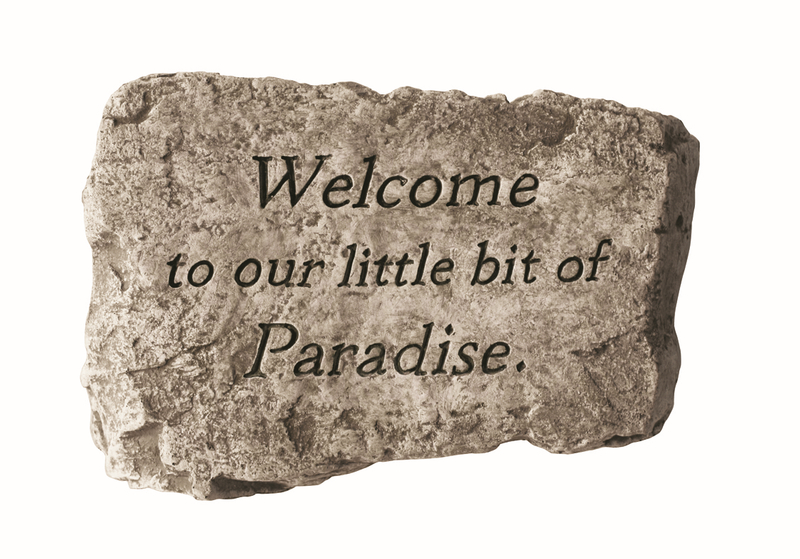 Welcome To Our Little Bit of Paradise Cast Stone Garden Greeting Ornament H18cm x W25.5cm