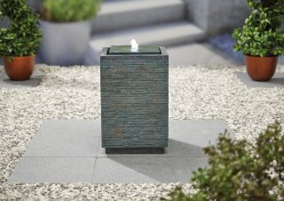H55cm Mosaic Cube Slate Effect Water Feature with Lights