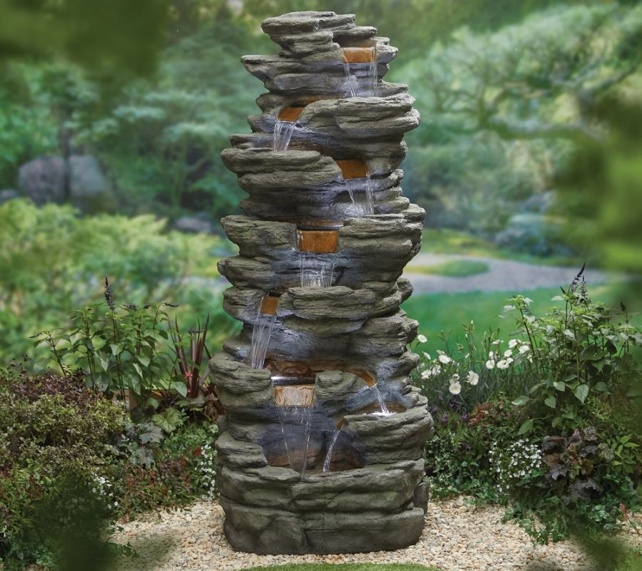 H201cm Atlas Falls Cascading Water Feature with Lights