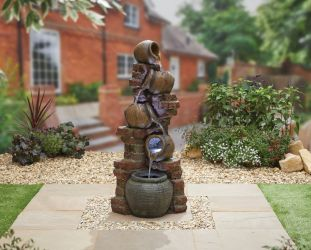 H123cm Village Spring Cascading Jar Water Feature with Lights
