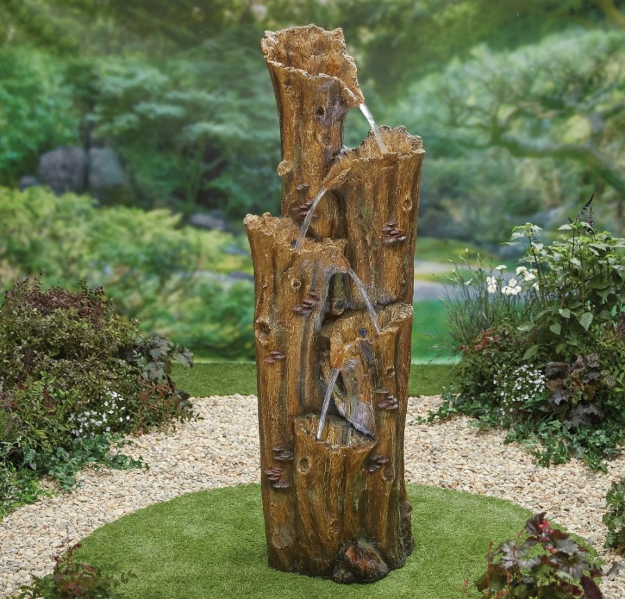 H169cm Monterey Falls Tree Trunk Water Feature with Lights