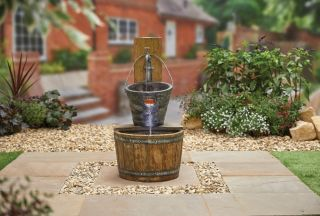 H84cm Country Charm Tap & Bucket Water Feature with Lights