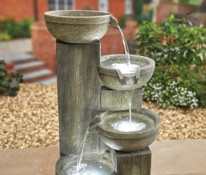 H101cm Ash Columns Cascading Bowl Water Feature with Lights