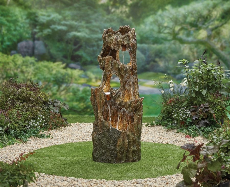 H121cm Forest Spring Water Feature with Lights
