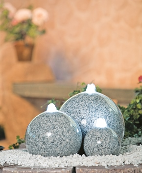 Stina Real Granite Sphere Water Feature Set with LED lights