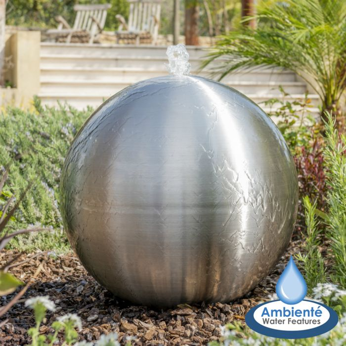 75cm Brushed Stainless Steel Sphere Water Feature, LED Lights by Ambienté™