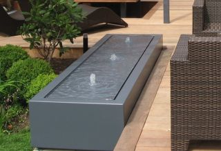 4m (13ft 1in) Aluminium Table Water Feature, 4 Fountain In Black