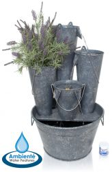70cm Borelli 3-tier Zinc Bucket Cascade Planter Water Feature with Lights by Ambienté™