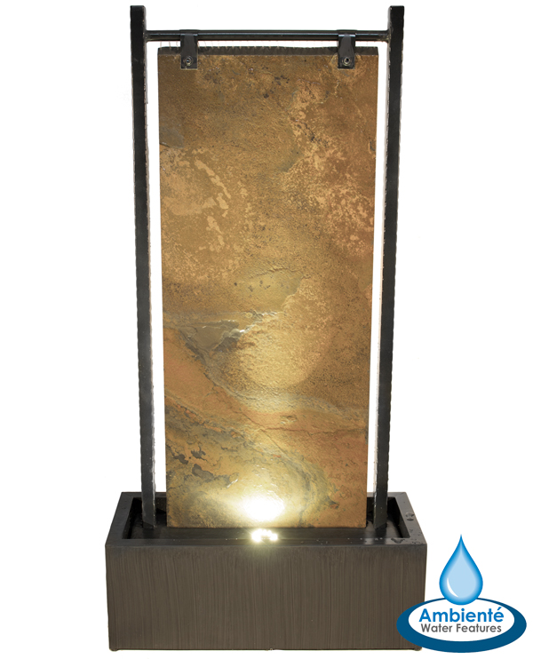H120cm Bernoulli Wall Zinc & Slate Water Feature with Lights by Ambienté