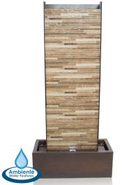 H120cm Venturi Wall Zinc & Brick Stone Water Feature with Lights by Ambienté