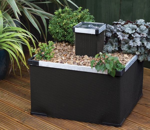 Aluminium and Textaline Liberty Garden and Patio  Water Feature and Planter in Black Finish