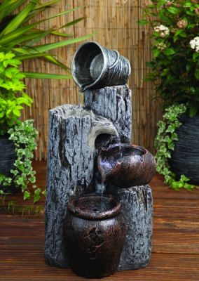 Liberty Woodland Pail and Urns Mains Free Water Feature