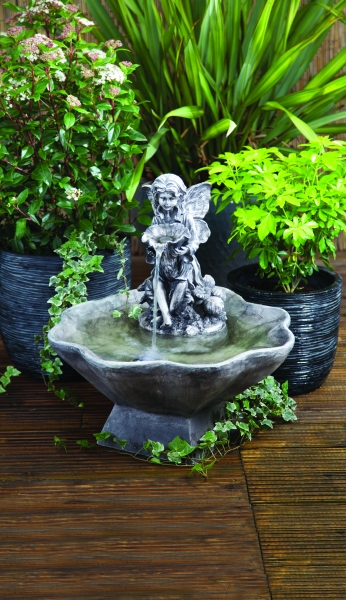 Liberty Flower Fairy and Bowl Mains Free Water Feature