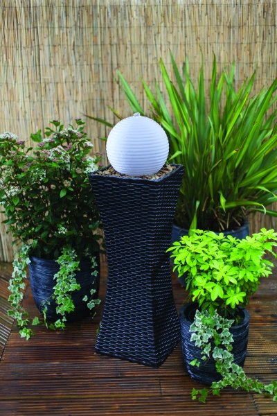 Liberty Rattan Pillar and Sphere Mains Free Water Feature with Colour Changing LED Lights