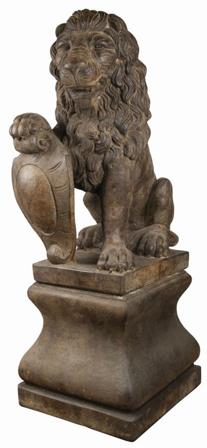 Henri Studios Stone Lion Pedestal Set of 2