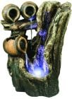 Cascading Trickling Tree Pots 2 Tier Garden Water Feature with Lights
