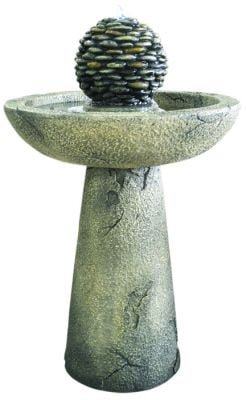 Pebble Bird Bath Water Feature with Lights