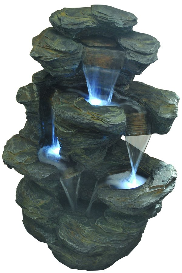 Cascading Slate Crag Falls Tiered Water Feature with Lights