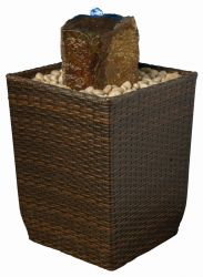 Rocky Rattan Weave Water Feature with Light