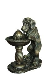 55cm Dog at Fountain Solar Water Feature