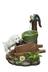45cm Dog on Wheelbarrow Solar Water Feature