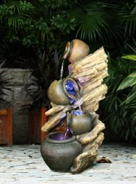 4 Pots on Driftwood Water Feature