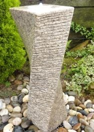 Drilled Twist Water Feature- Beige Granite