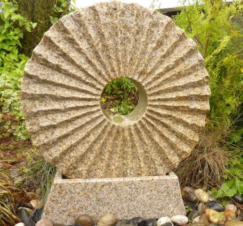 Rising Sun Fountain with Base Beige Granite- Water Feature