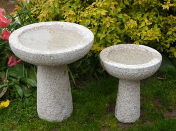 50cm Basic Round Bird Bath- Pink Granite