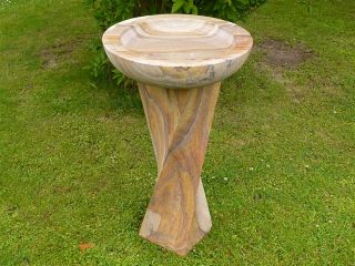 60cm Rainbow Sandstone Bird Bath with Twirled Column
