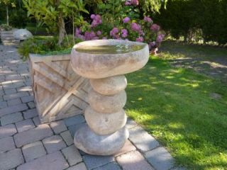 60cm Stacked Natural Boulder Bird Bath