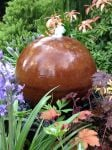 58cm Corten Steel Sphere Water Feature with LED Lights