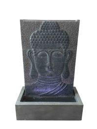 Grey Buddha Wall Water Feature with Light