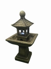 Pagoda on Column Water Feature with Light