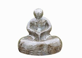 Marble Effect Sitting Man Water Feature with Light