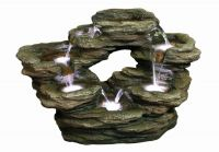7 Fall Oval Rock Water Feature with Light