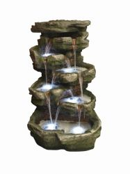 Large 10 Fall Rock Water Feature with Light
