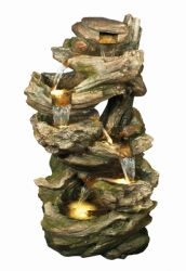 Large 6 Fall Woodland Water Feature with Light