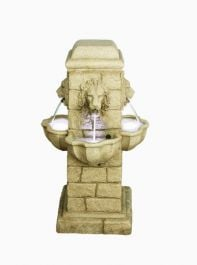 4 Face Lion Fountain Water Feature with Light