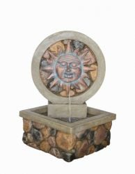 Sun Face Brick Effect Water Feature with Light