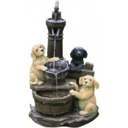 3 Puppies at Pump Water Feature with Light