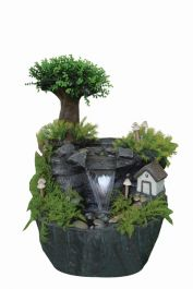 Fairy House in Forest Water Feature with Light