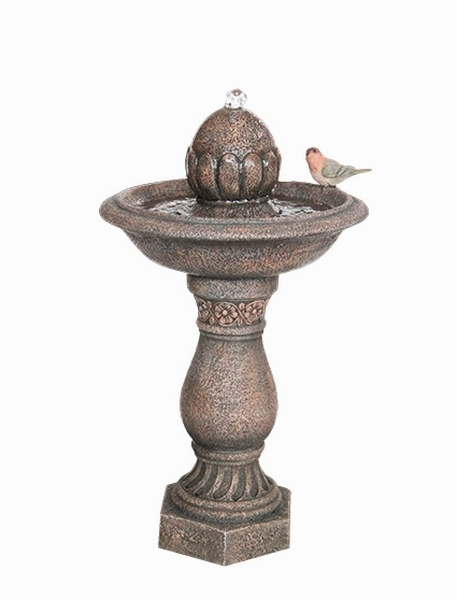 Solar Finial on Pillar with Bird Water Feature