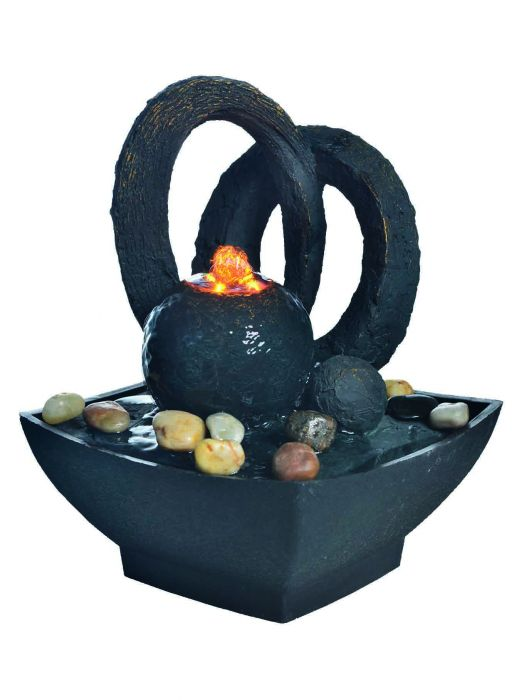 H16cm Black Sphere with Arches Lit Indoor Water Feature