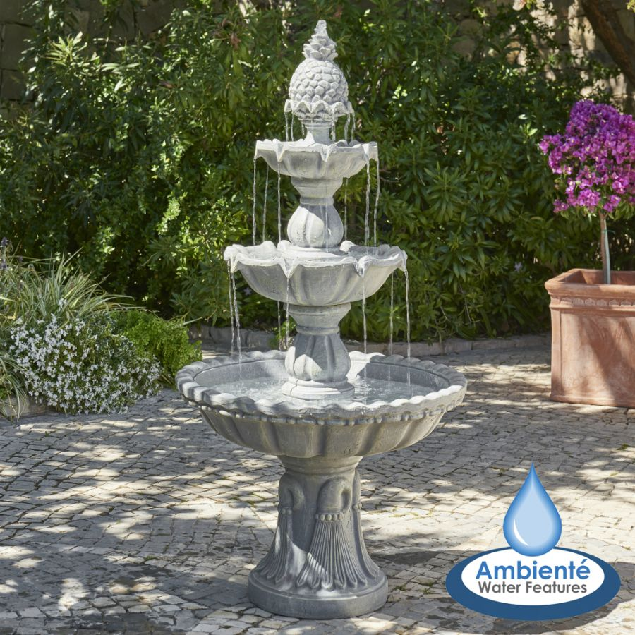 H150cm Regal Stone Effect 3-Tier Water Fountain by Ambienté